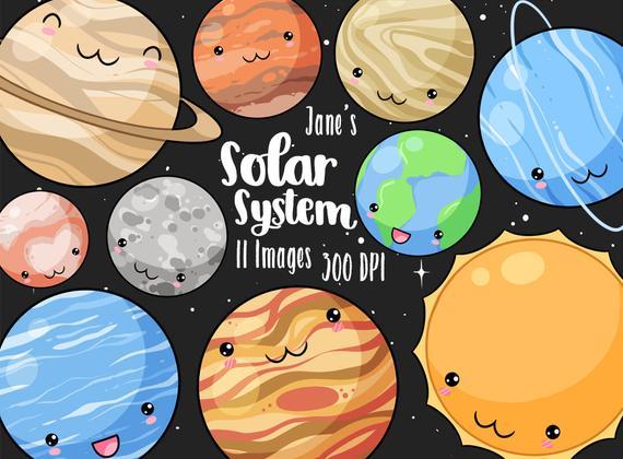 Kawaii cute solar system. Planeten clipart adorable