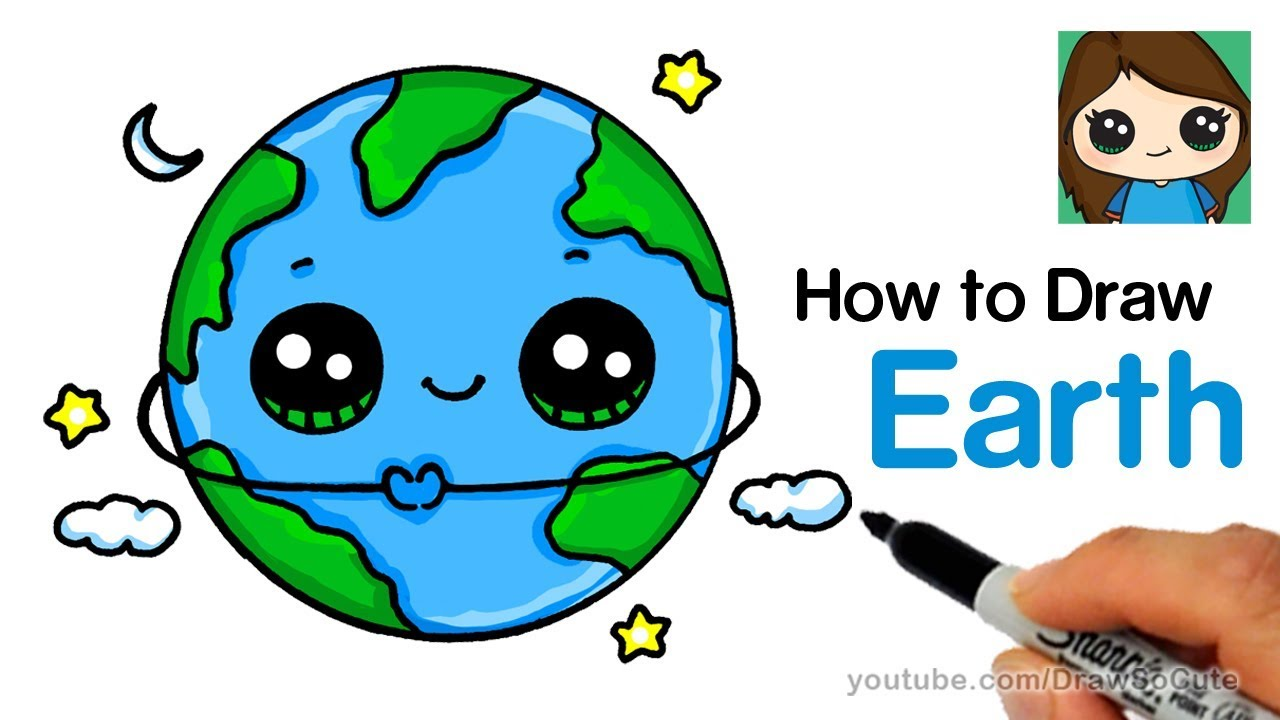 Planeten clipart adorable. How to draw earth