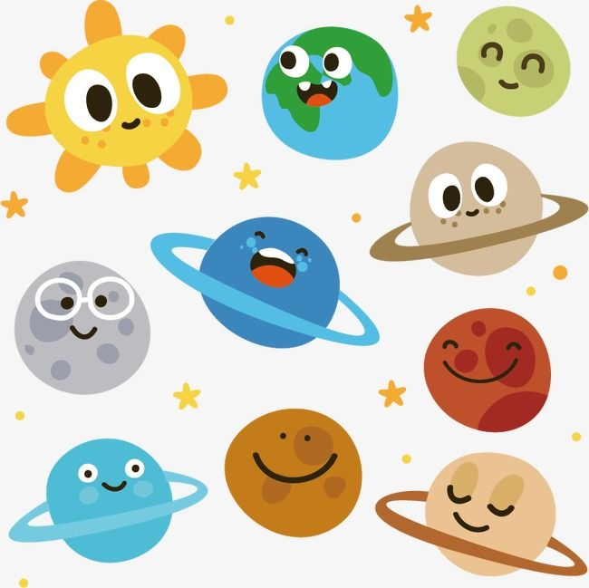 Planeten clipart cartoon. Sun and nine planets