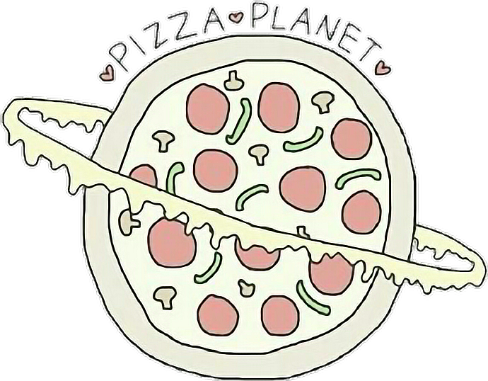 Tumblr planet pizza inscription. Planeten clipart collage