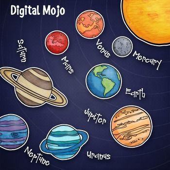 Planets clipart label. Solar system and planet