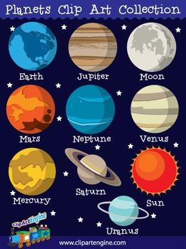 Planets clip art collection. Planeten clipart construction paper
