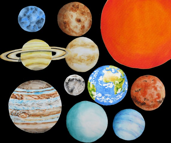 Planets solar system watercolor. Planeten clipart display