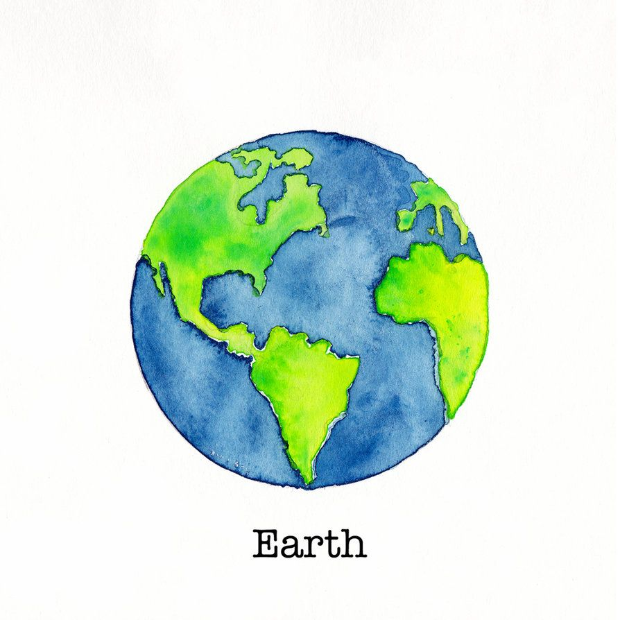 Tiny watercolor painting by. Planeten clipart earth round