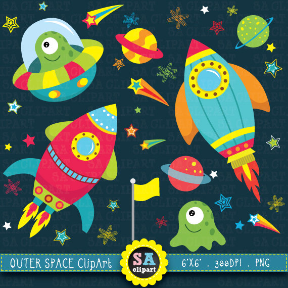 Outer clip art pack. Planets clipart space party