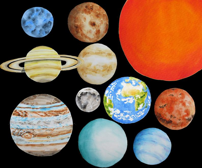 Planeten clipart handmade. Planets solar system watercolor