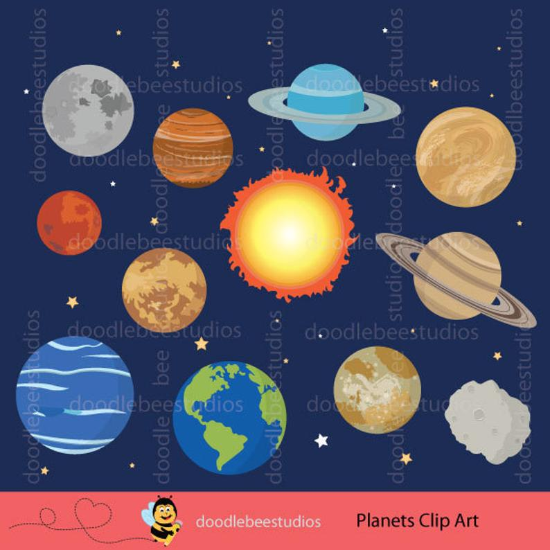 Planets solar system clip. Planeten clipart outer space