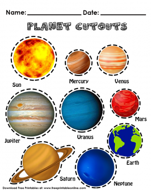 Planet cutouts free printable. Planets clipart order worksheet