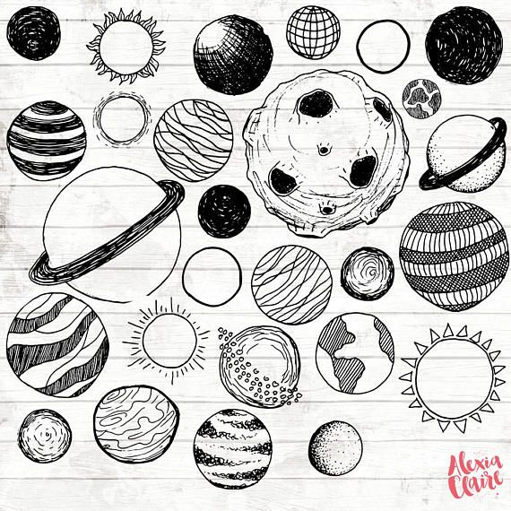Planeten clipart planetary. Planets hand drawn planet