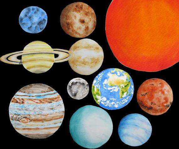 Planeten clipart solar sytem. Planets system watercolor earth