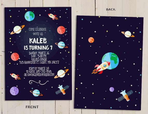 Planeten clipart space party. Planet birthday invitation outer