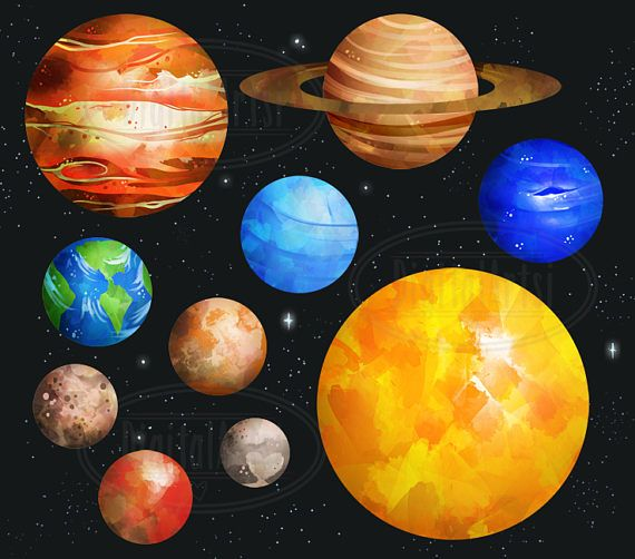 Watercolor planets solar system. Planeten clipart space thing