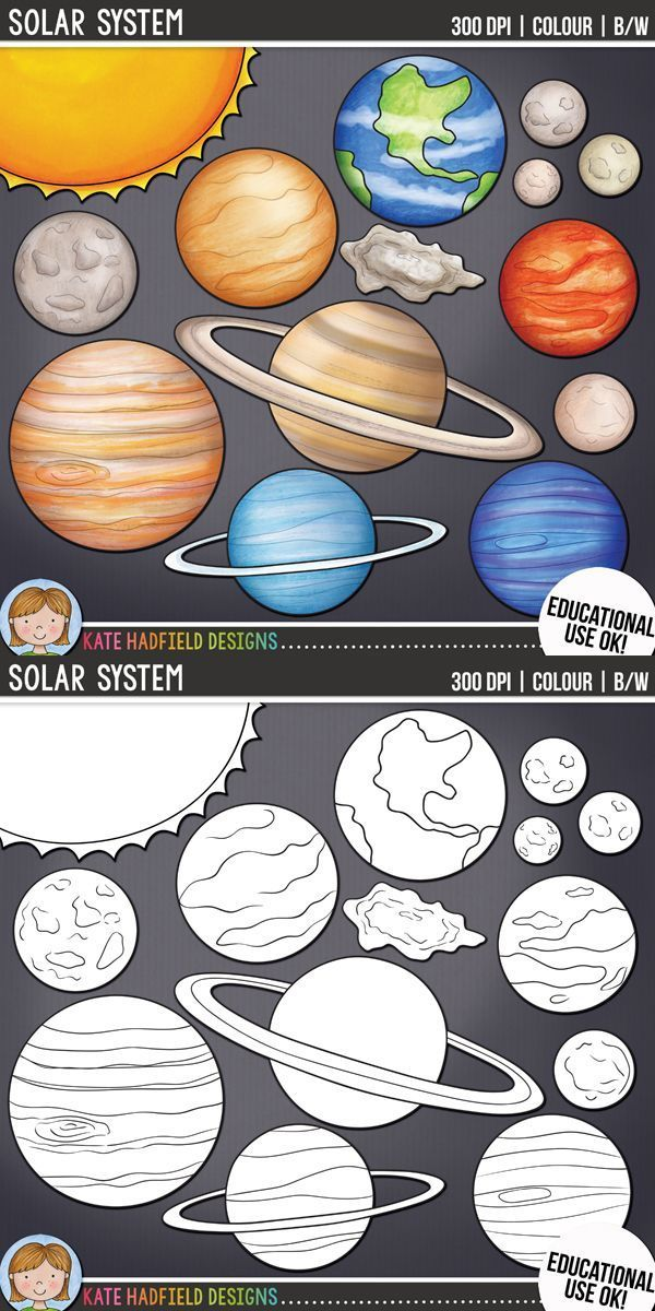 Space and planets clip. Planeten clipart teacher