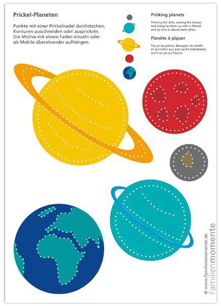 Planeten clipart yellow planet. Zum prickeln bastelbogen mit