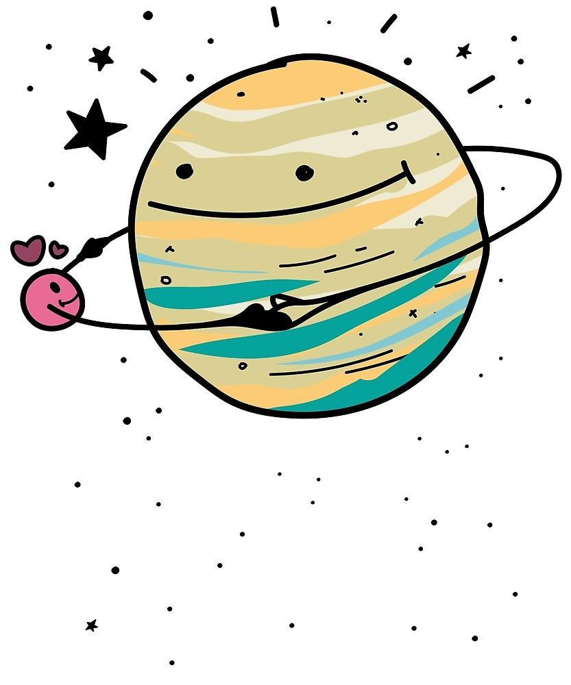Cute dancing planets niedliche. Planeten clipart yellow planet