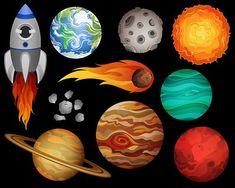 Outer space digital clip. Planeten clipart