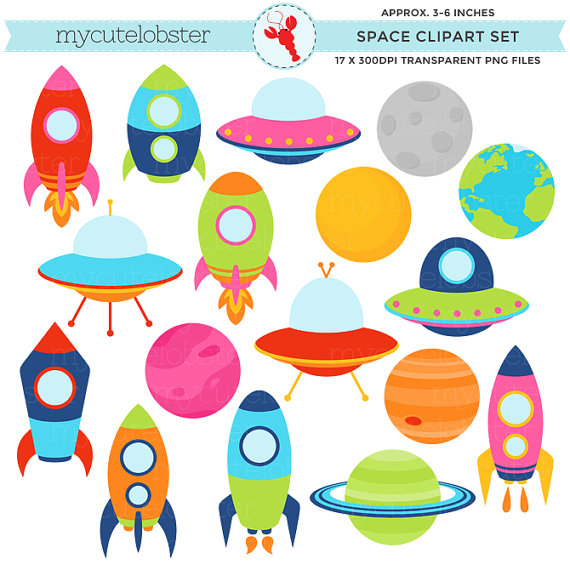 Planets clipart. Space rockets ships set