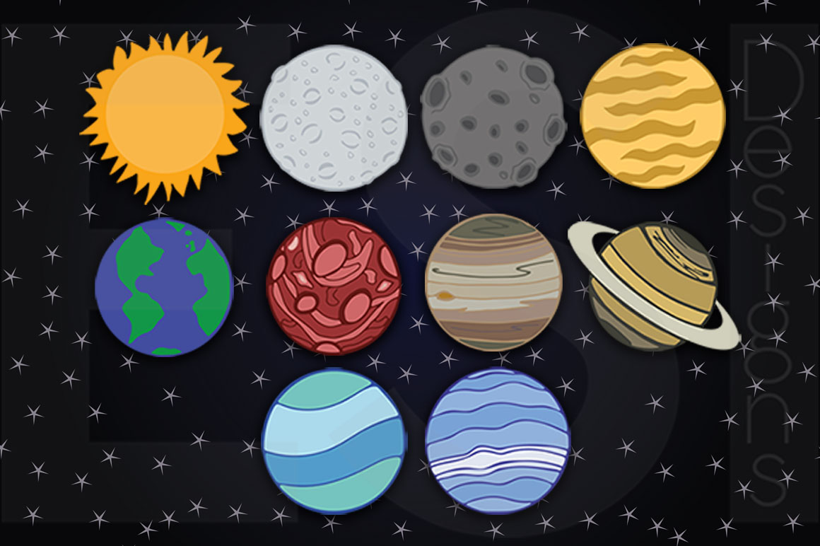 Includes space star digital. Planets clipart