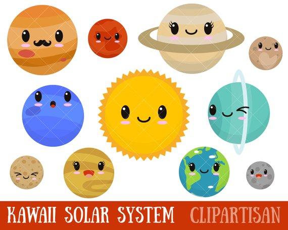 Kawaii cute solar system. Planets clipart
