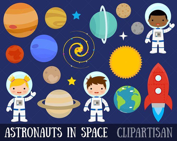 Space clip . Planets clipart astronaut