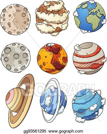 Planets clipart carton. Vector art cartoon drawing