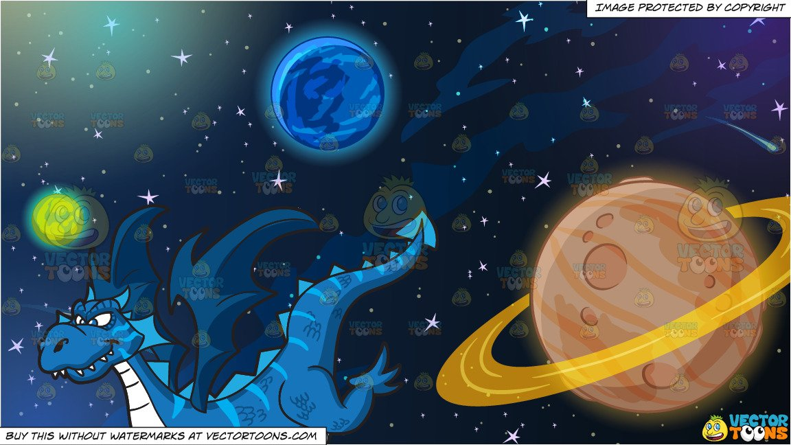Planets clipart cool. A looking dragon and