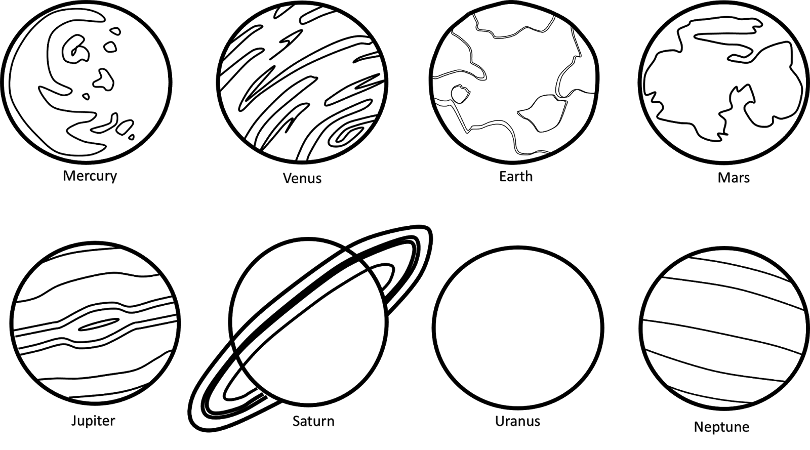 Planet black and white. Planets clipart cute