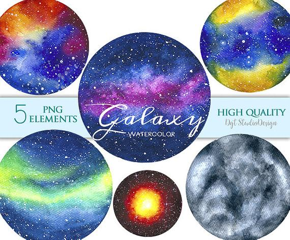 Watercolor space nebula night. Planets clipart galaxy