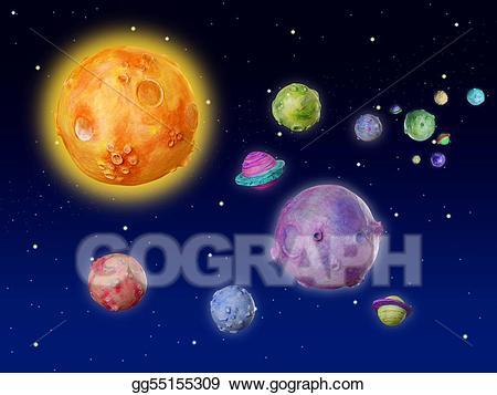 Clip art space fantasy. Planets clipart handmade