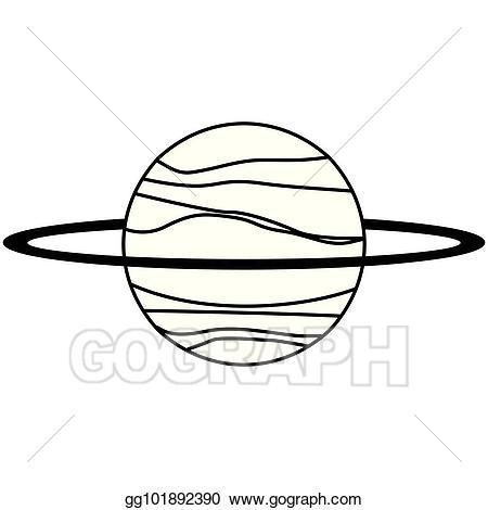 Clip art vector uranus. Planets clipart line