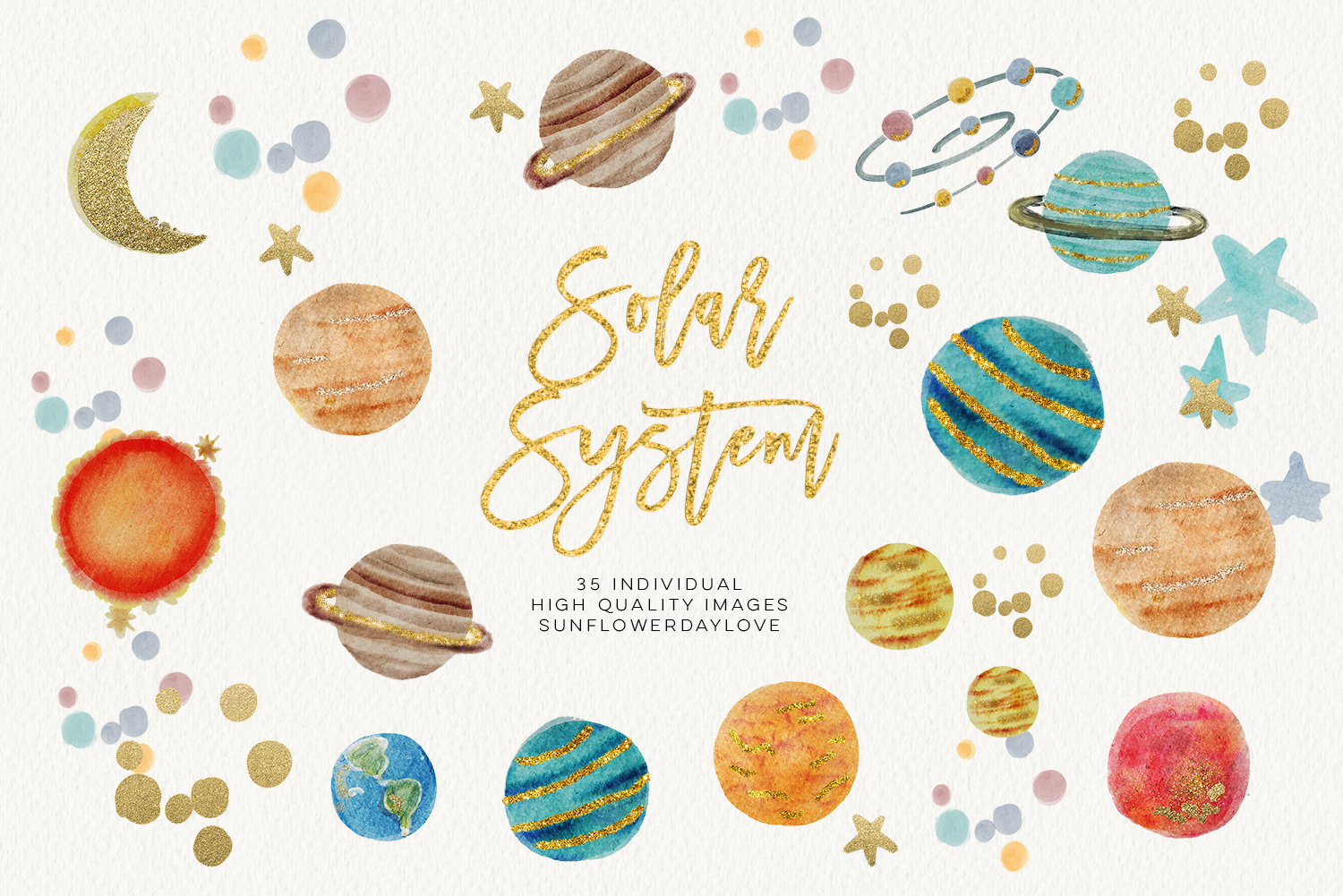 Watercolor solar system graphic. Planets clipart outer space