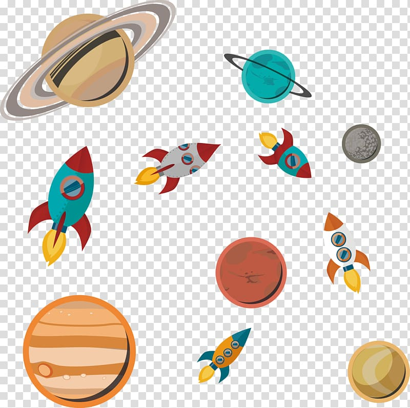 Paper outer space rocket. Spaceship clipart planet