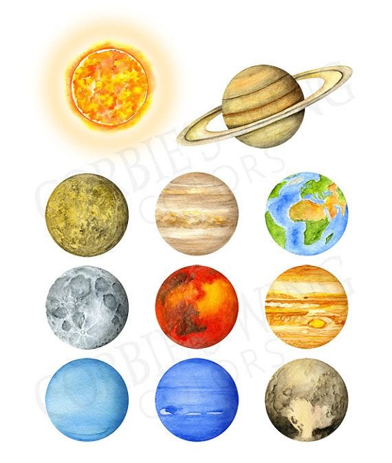 Watercolor solar system universe. Planets clipart print