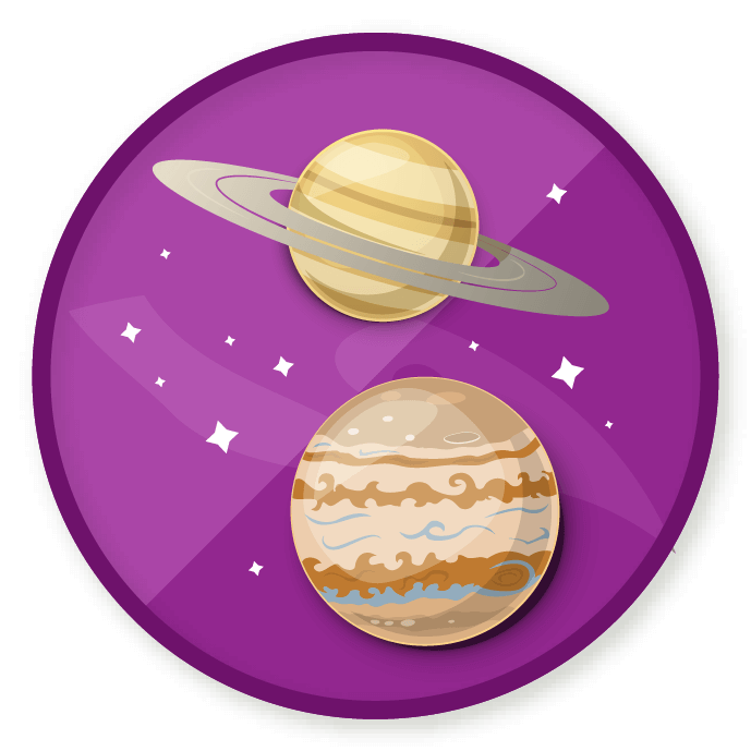 Wittywe win a badge. Planets clipart purple