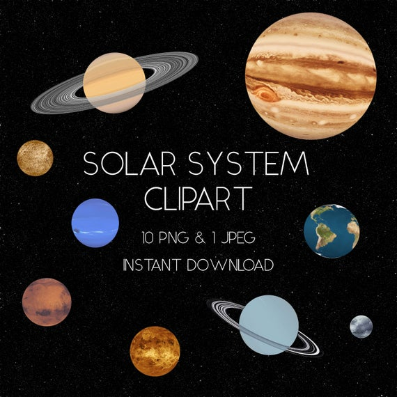 Solar system clip art. Planets clipart realistic