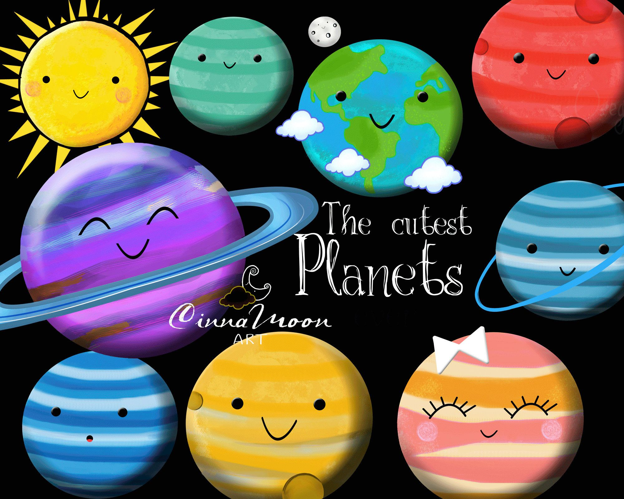 Universe solar . Planets clipart smiley