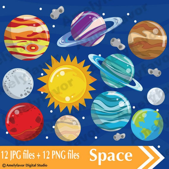 Planets clipart space party. Png images digital clip