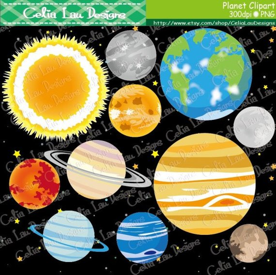 Digital solar system outer. Planets clipart space theme