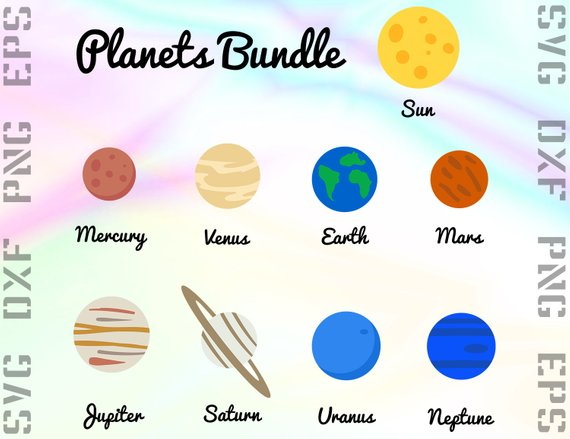 Planets clipart svg. Planet files dxf solar