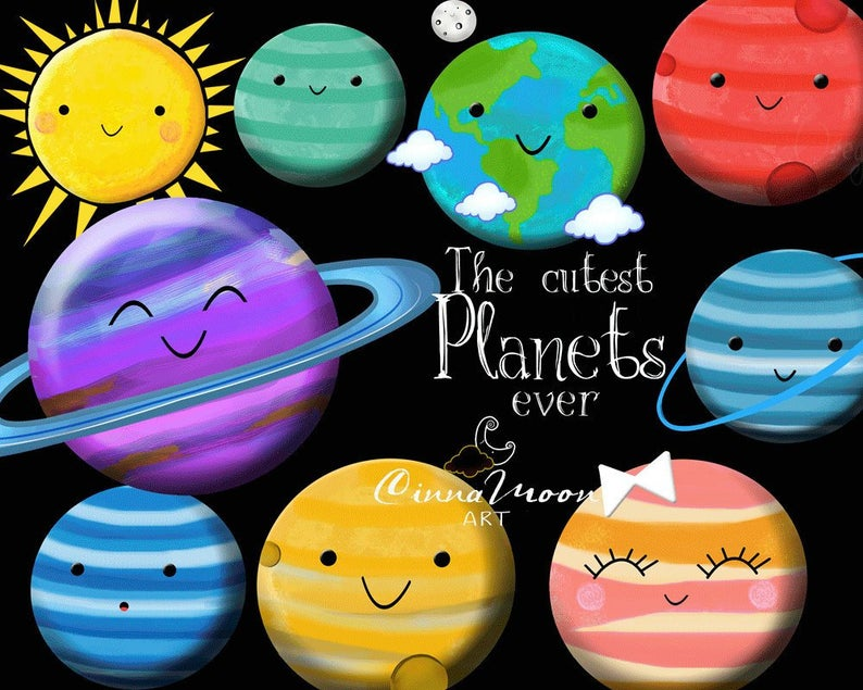 Solar system space kawaii. Planets clipart universe