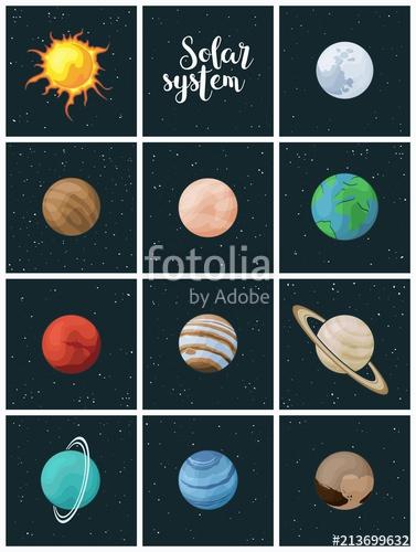 Solar system vector clip. Planets clipart universe