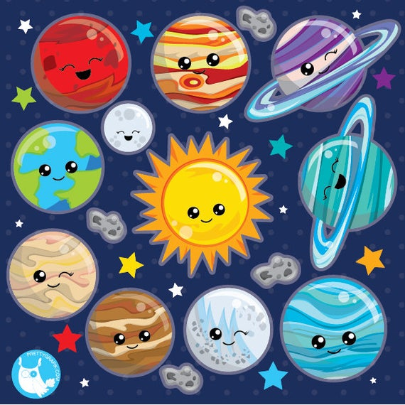 Buy get solar system. Planets clipart vector