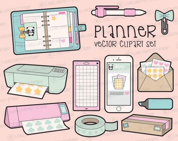 Planner clipart. Premium vector kawaii planning