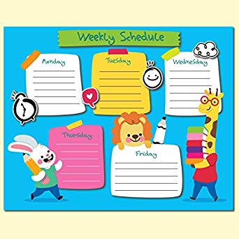 Planner clipart activity schedule. Amazon com weekly poster