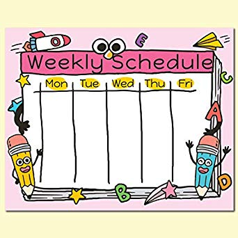 Amazon com weekly poster. Planner clipart activity schedule