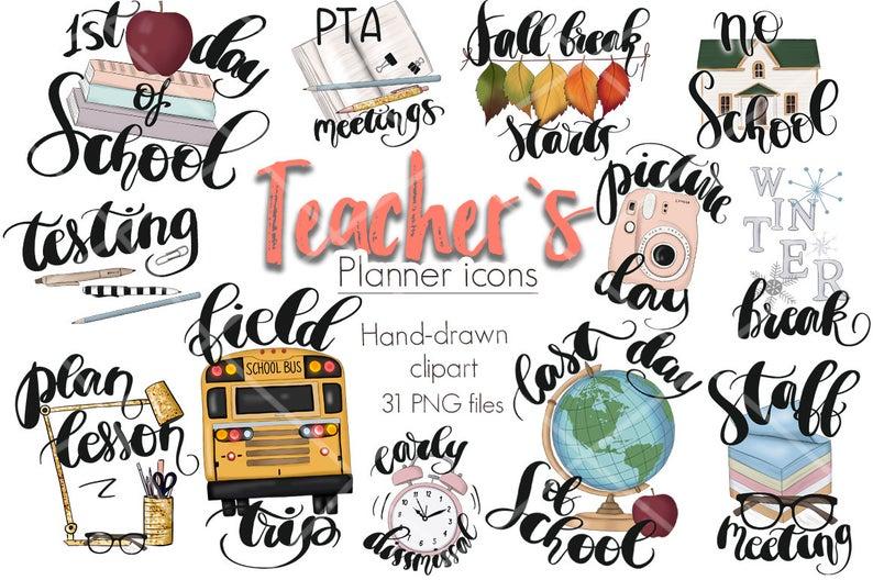 Planner clipart basic education. School stickers teacher icons