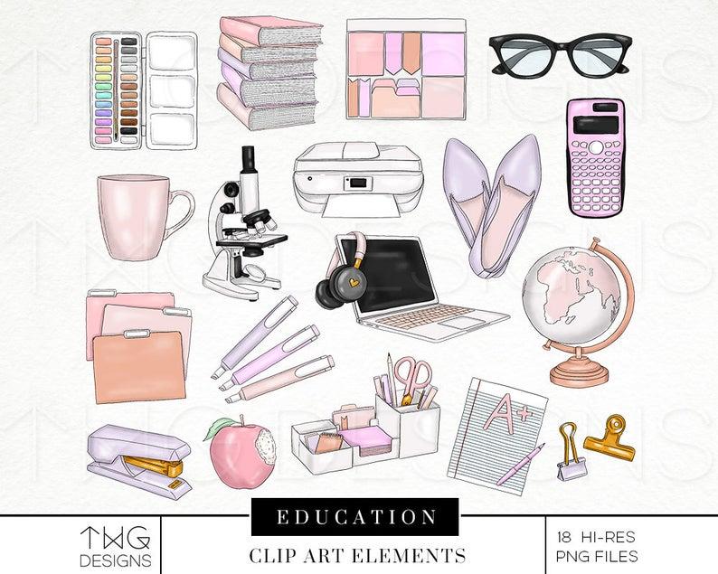 Planner clipart basic education. Teacher elements fashion illustration