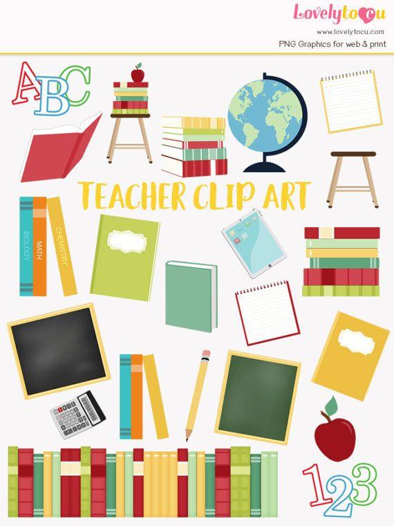 Teacher clip art set. Planner clipart basic education