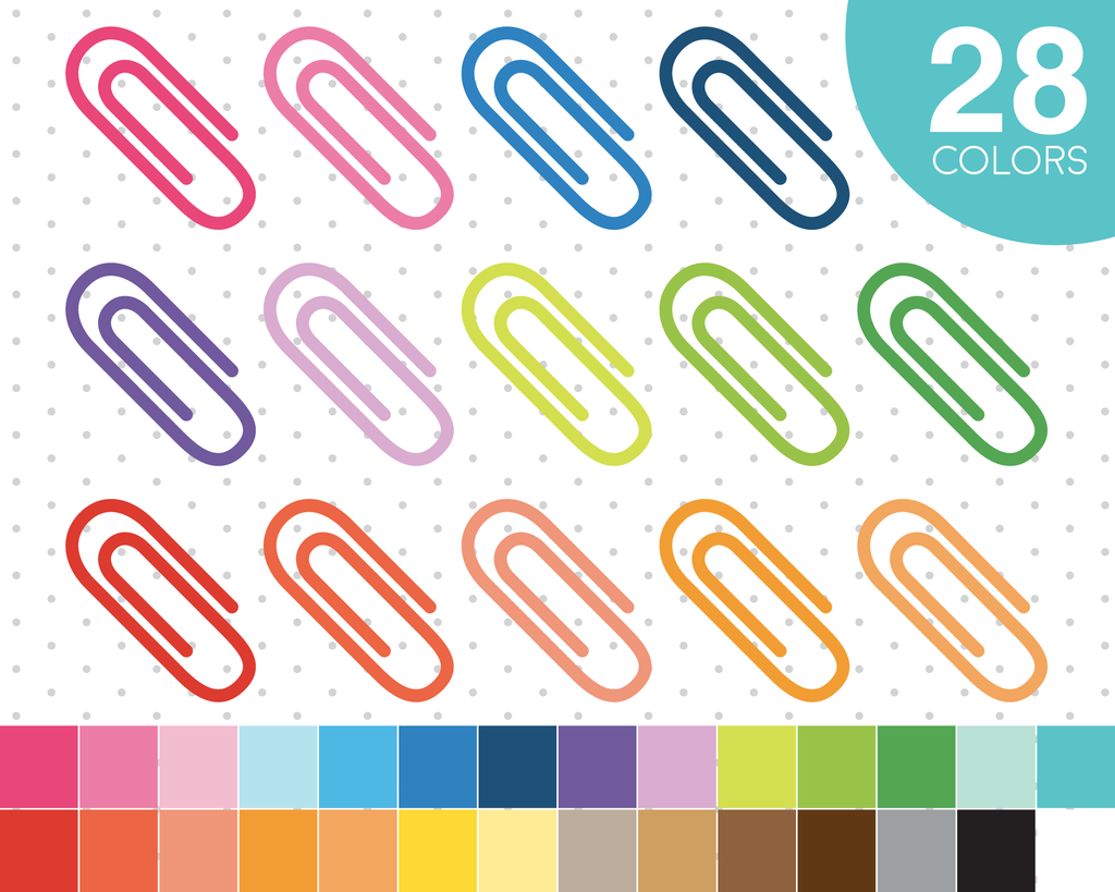 Clips in colors icons. Planner clipart binder paper