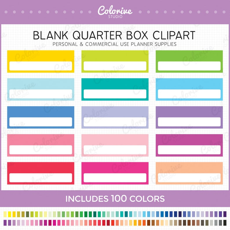 Planner clipart blank.  quarter box solid